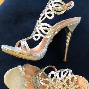 Bebe Metallic Delja Jeweled Stiletto Sandals